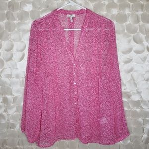 Joie Pink Floral Silk Blouse Size M